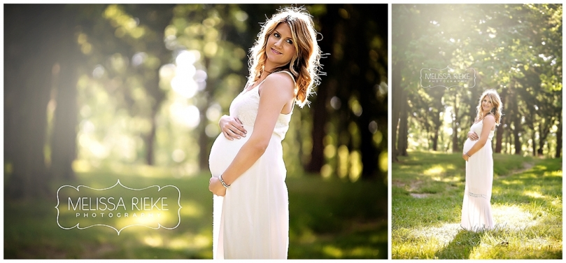 Kansas City Maternity Pictures white dress green forest