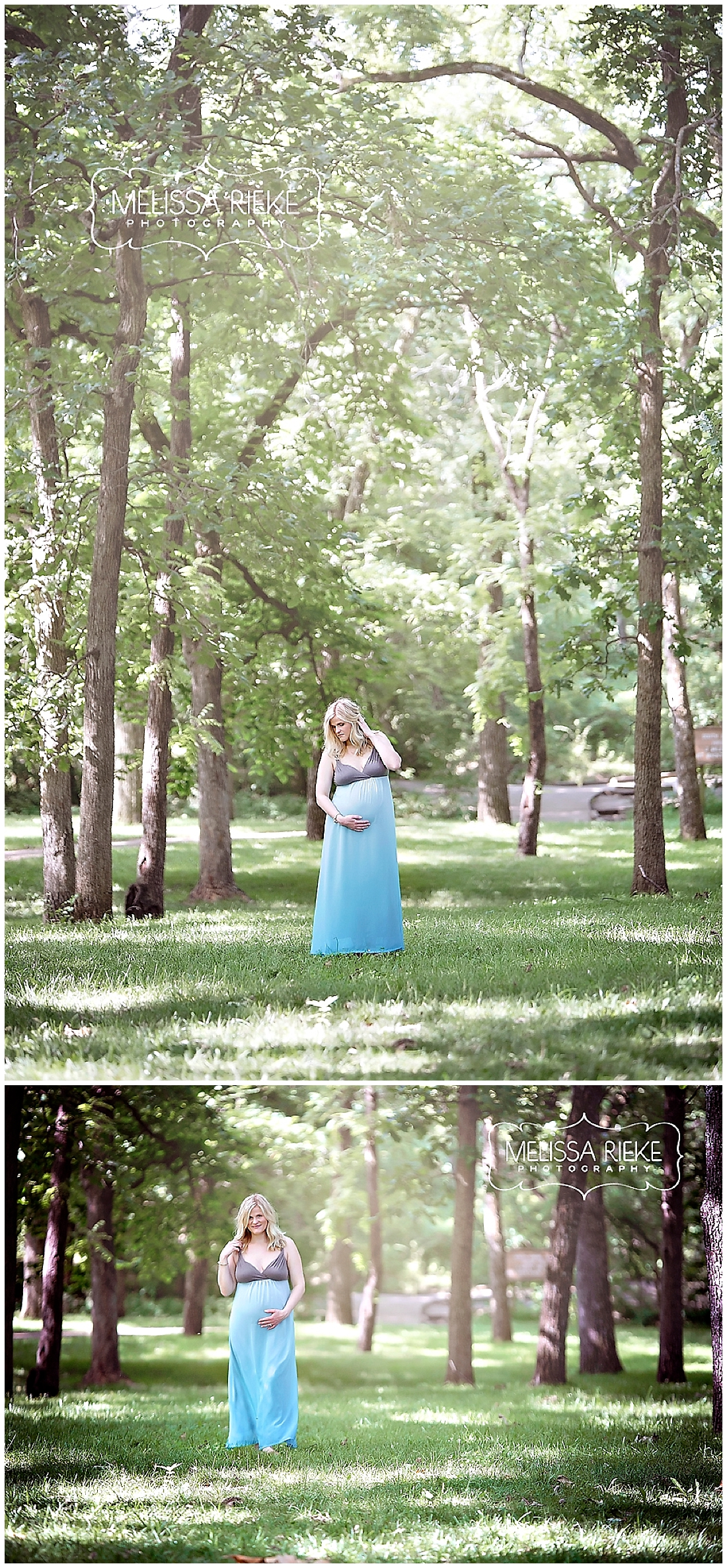 Kansas City Maternity Photos | Woods | Blue Dress