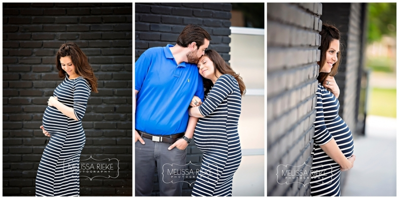 Kansas City Maternity Photographer | Melissa Rieke Photography | Striped Dress Black and White