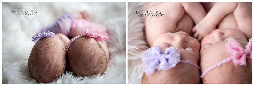 Twin Newborn Baby Girl Photos | Melissa Rieke Photography | Pink and Purple