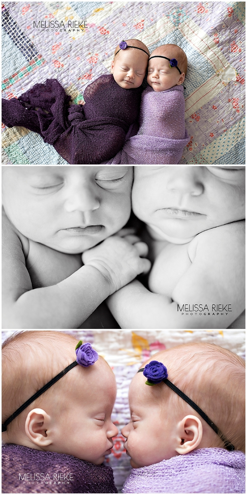 Twin Newborn Baby Girl Photos | Melissa Rieke Photography | Vintage Quilt | Purple