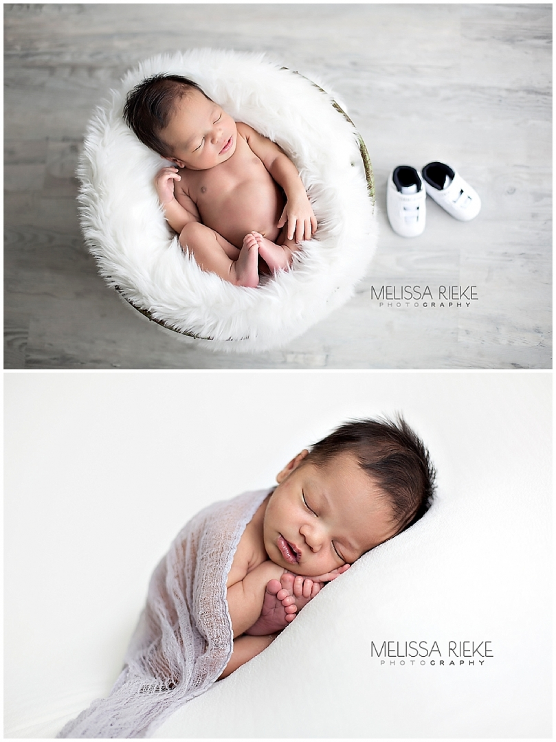Newborn Baby Boy Pictures on white blanket