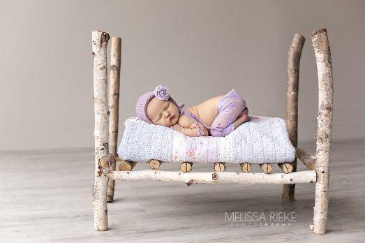 Newborn Baby Girl Photos Wood Bed Prop Kansas City