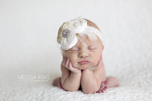 Newborn Baby Girl White Vintage Bow Kansas City Photos
