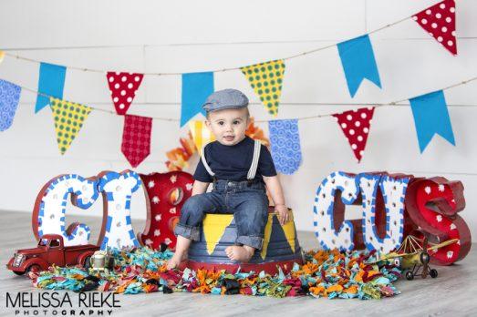 Circus Cake Smash Kansas City First Birthday Photoshoot