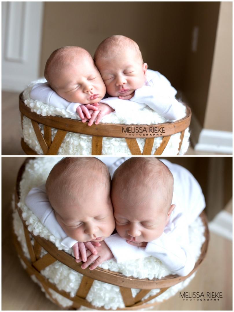 Basket Prop Pose Twin Boy Newborn Photos Kansas City