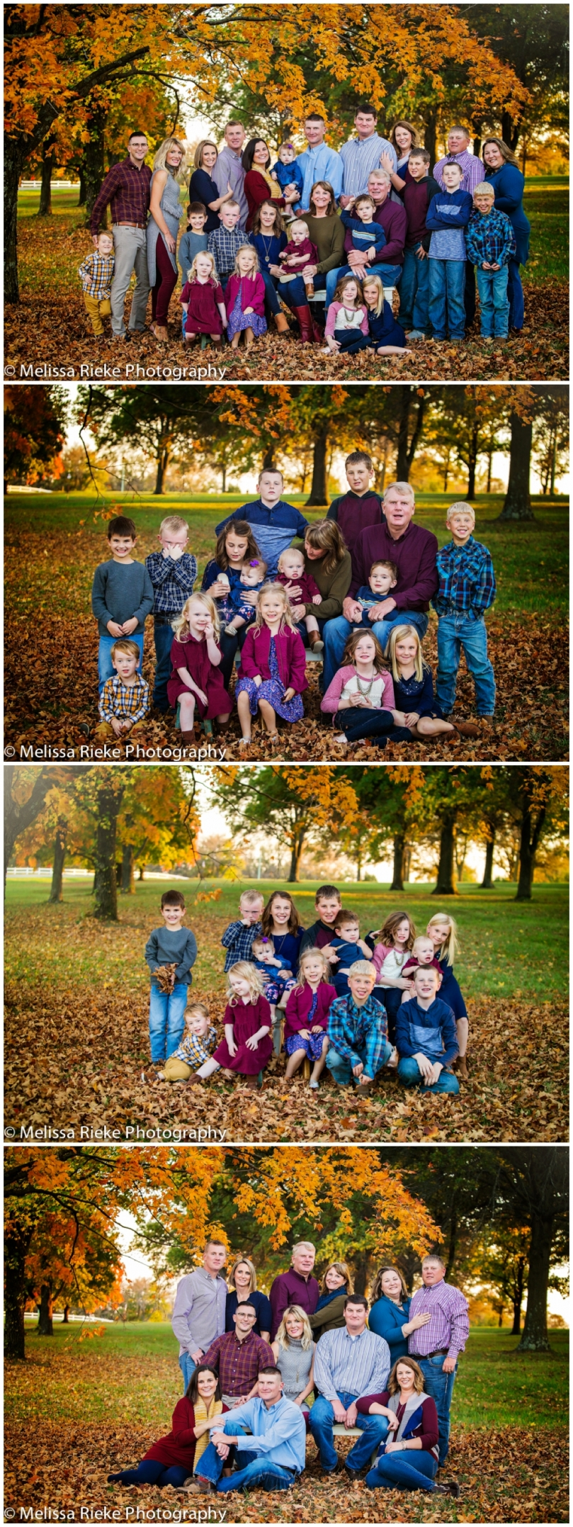 Fall Extended Family Pictures Portraits Generations What to Wear Kansas City
