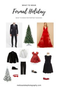 Formal Dressy Holiday Portraits What To Wear Red Dress Black Suit Family PIctures