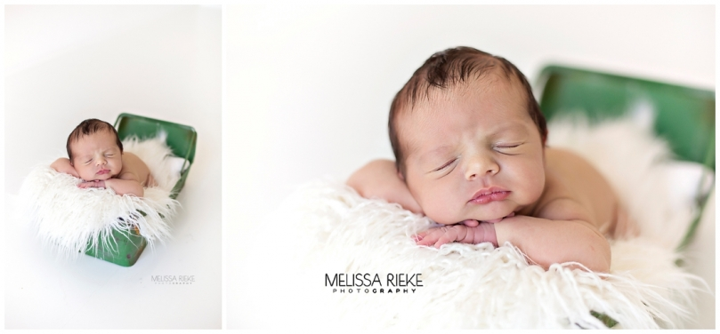 Baby Boy Newborn Pictures Green Bucket Prop Kansas City Area Photographer