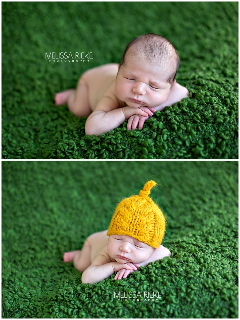 Newborn Photos of Baby Boy Drew Hat Props Kansas