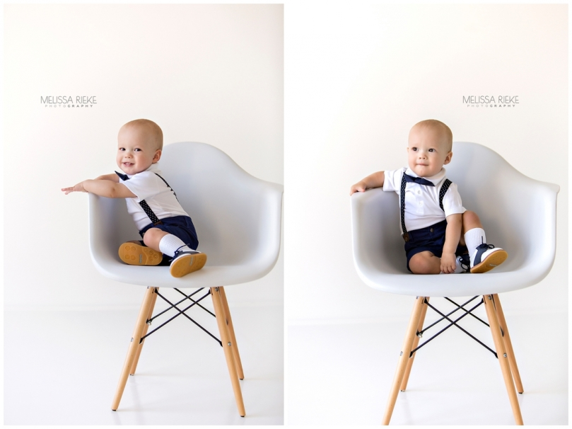 Eames Style white chair One Year Old Birthday Boy Photos