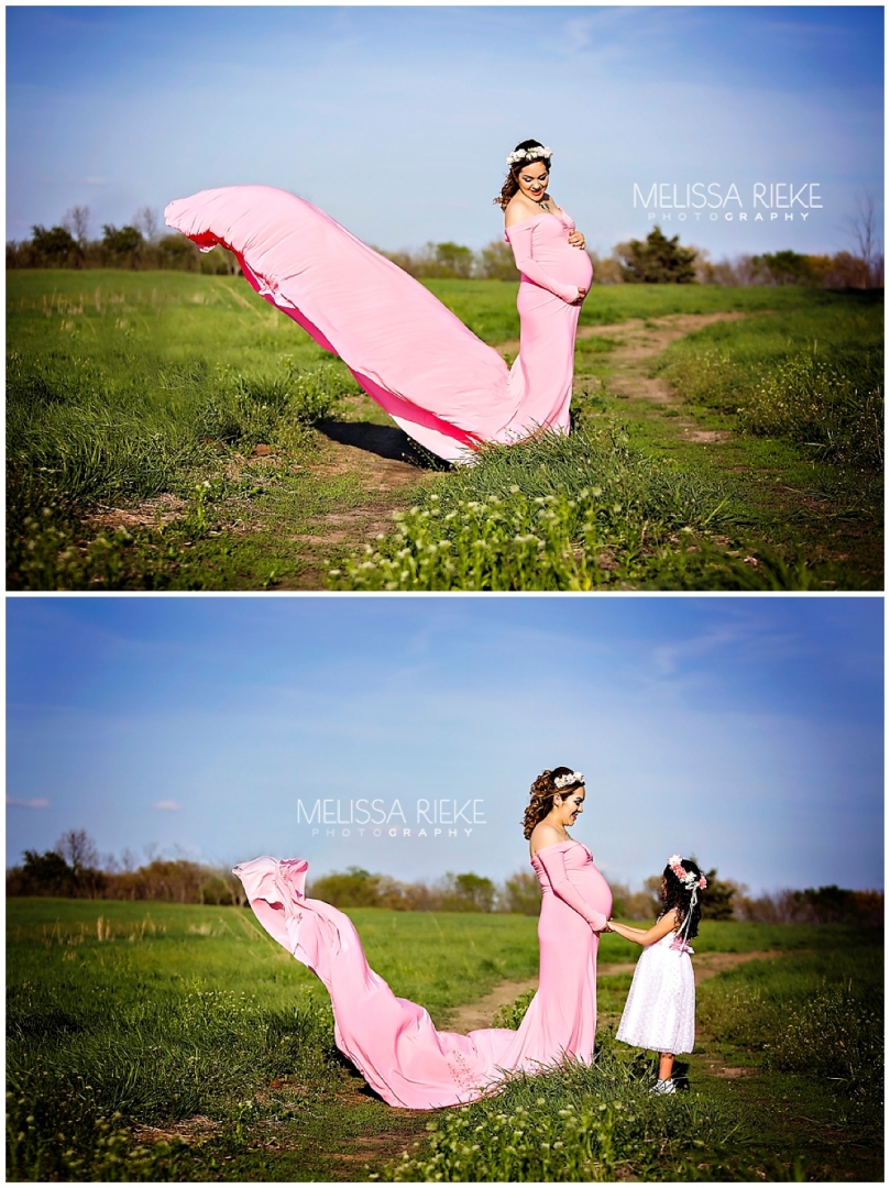 Outdoor Farm Maternity Session Beautiful Pink Gown Flowing Wind Pictures Belly Bump Pregnancy Kansas Mother Daughter