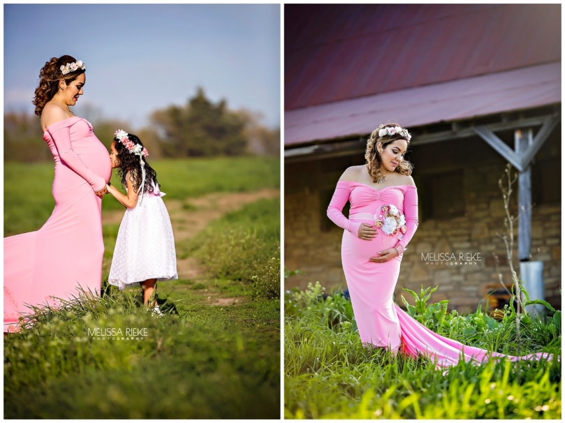Pink flowing gown maternity outdoor farm Kansas City Area Pictures