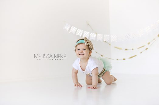 No Cake Baby Girl First Birthday Photos Crawling Kansas City Photographer
