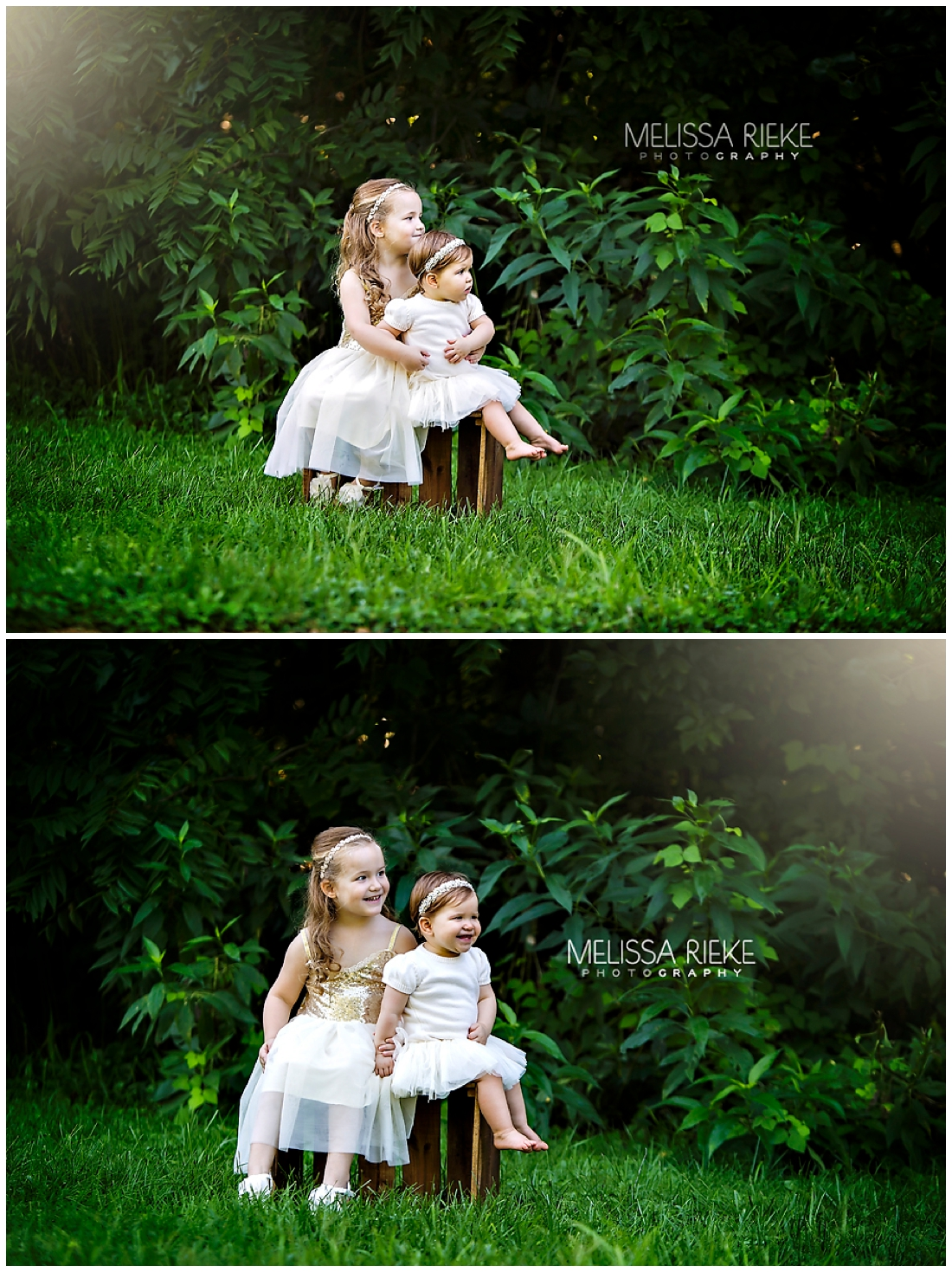 Outdoor sister portrait session kansas city childrens photographer baby girls