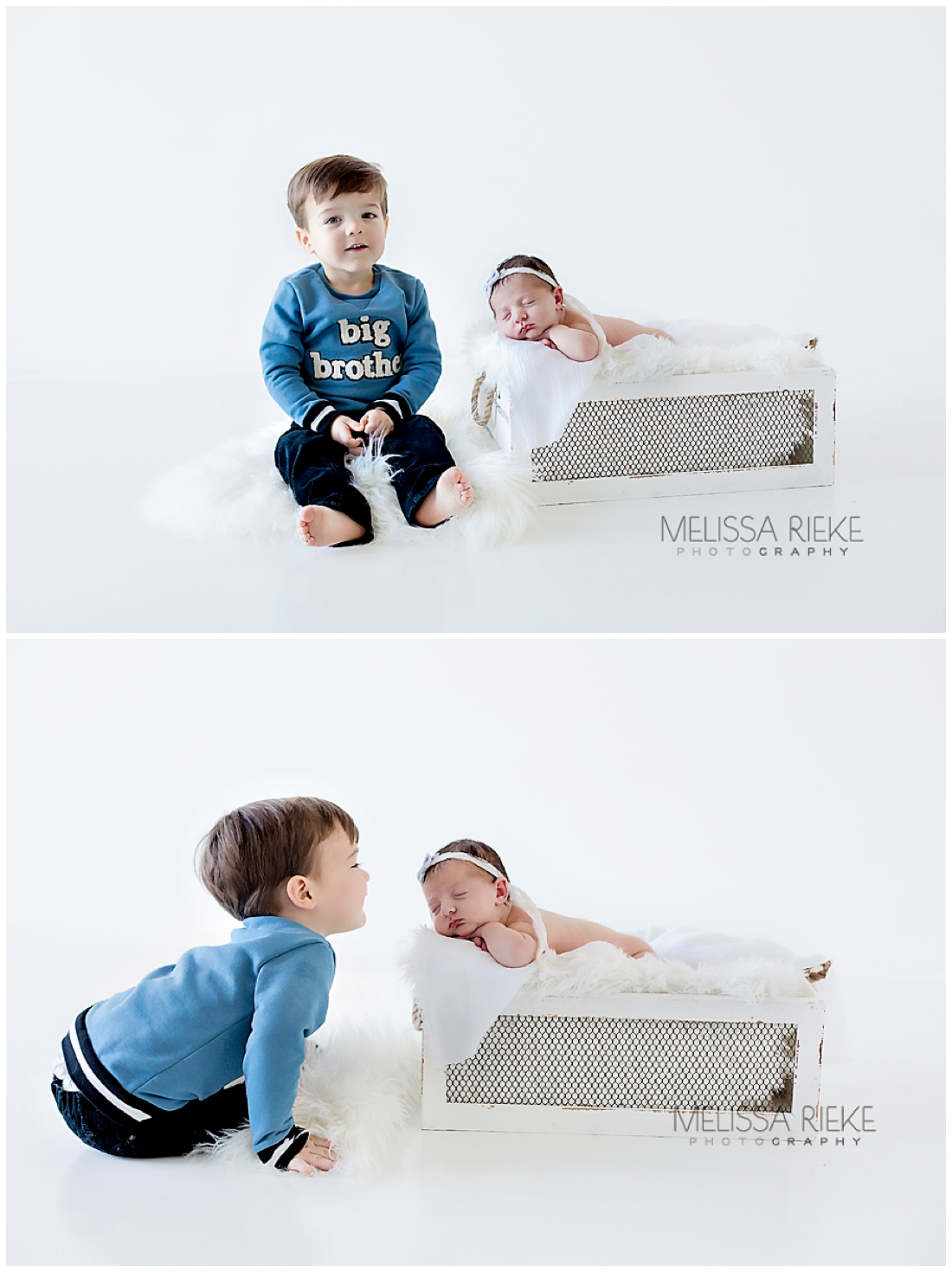 Newborn Baby Sister with Big Brother Toddler Kansas City Portraits Pictures photos Baby Girl
