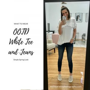 OOTD Simple Spring White Shirt and Jeans Statement Earrings Boat Shoes