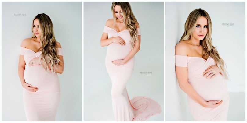 Studio Maternity Photos Pink Gown White Photography Studio Kansas City