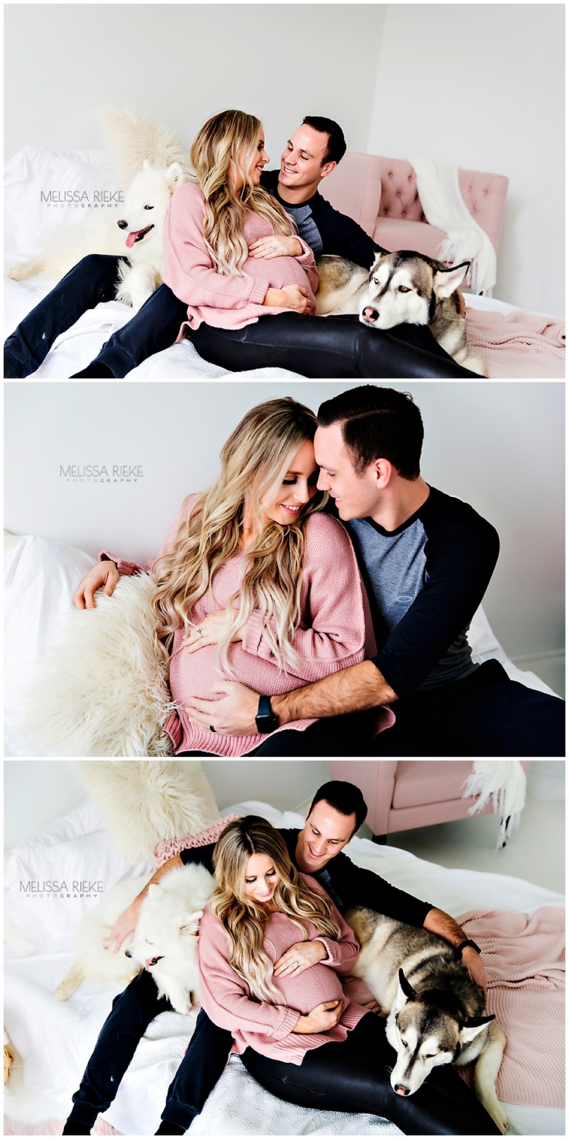 Studio Maternity Photos with Pups Dogs Husband White Studio On Bed Kansas City Maternity