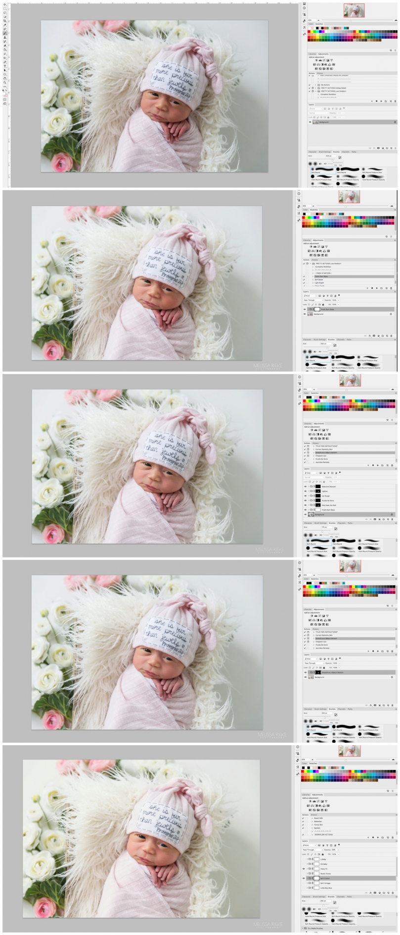 Newborn Photography Editing Photoshop Pretty Actions Baby Sessions