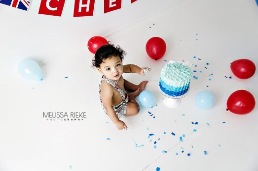 Kansas City First Birthday Pictures Cake Smash Baby Photographer In Studio