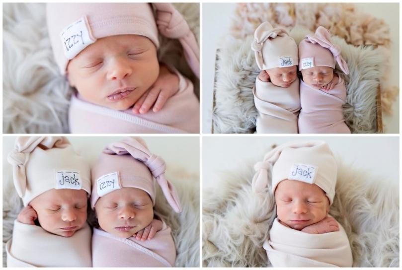Boy Girl Twin Newborn Photos Surprise Twin Newborn Baby Photos Kansas City Photographer KNOTS Hats