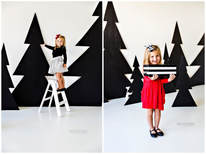 Holiday Card Pictures Mini Sessions Kansas City Photographer Black and White Trees Studio