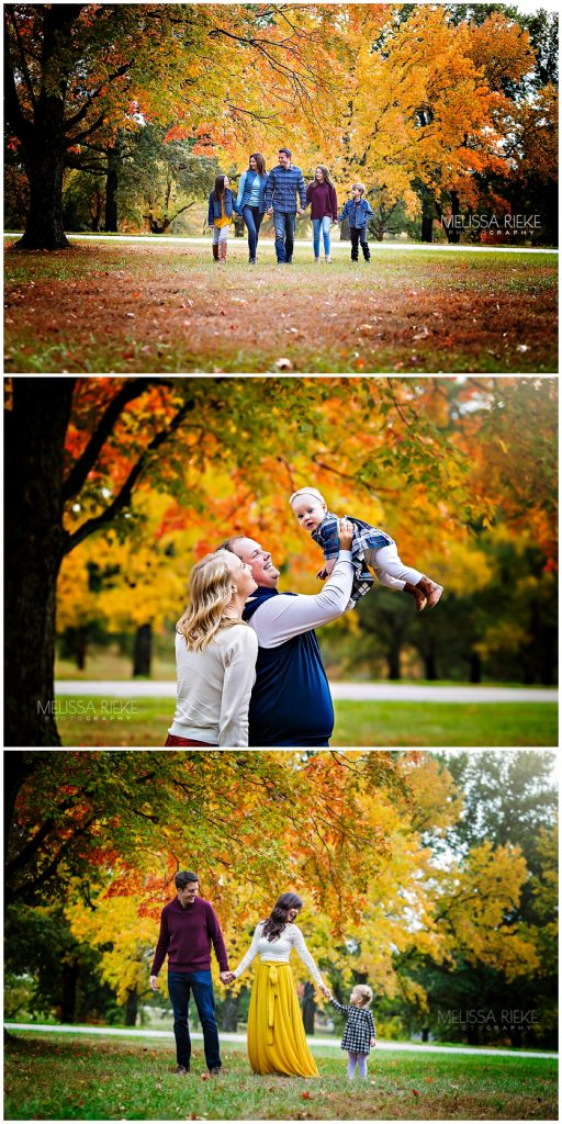 Fall Family Pictures Mini Sessions Kansas City Colorful Foliage Outdoors Photographer