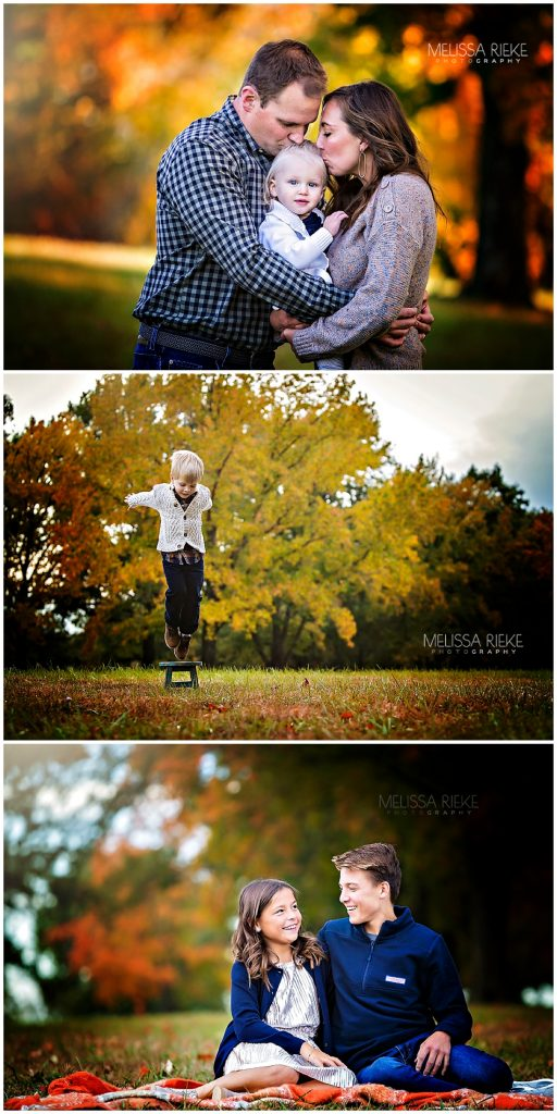 Fall Family Mini Sessions Kansas City Colorful Foliage Outdoors Photographer